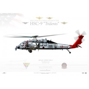 MH-60S Knighthawk HSC-9 Tridents, AJ610 / 167836. CVW-8, USS George H. W. Bush CVN-77 Squadron Lithograph