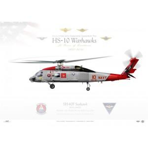 SH-60F Seahawk HS-10 Warhawks, 10 / 164087. NAS North Island, San Diego, CA Squadron Lithograph