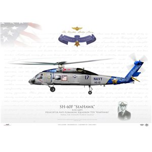 SH-60F Seahawk HS-10 Warhawks, 17 / 164073. Medal of Honor - Lt Clyde Lassen, NAS North Island, San Diego, CA Squadron Lithograph