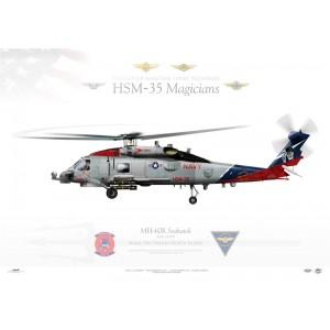 MH-60R Seahawk HSM-35 Magicians, 167050. NAS North Island, San Diego, CA Squadron Lithograph