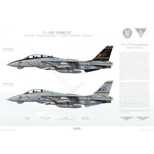 "F-14B Tomcat VF-32 Swordsmen, AC100 / 162916 and AC101 / 161860. CVW-3, USS Harry S. Truman CVN-75 - Last Cruise, 2005  Size: Standard - 24 x 16"" / 594 x 420mm Squadron Lithograph"