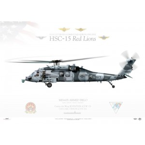 """MH-60S Knighthawk """"Armed Helo"""" HSC-15 Red Lions, NA617 / 168539. CVW-17, USS Carl Vinson CVN-70 Squadron Lithograph"""
