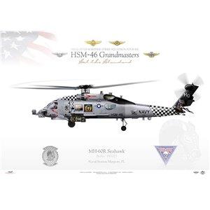 MH-60R Seahawk HSM-46 Grandmasters, HQ470 / 162027. NAS Mayport, FL Squadron Lithograph