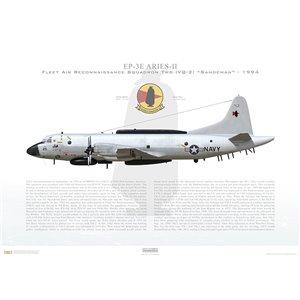 """EP-3E Aries II Fleet Air Reconnaissance Squadron Two(VQ-2) Sandeman,JQ25 / 157325 - """"Christine"""".NS Rota,Spain -1994 Squadron Lithograph"""