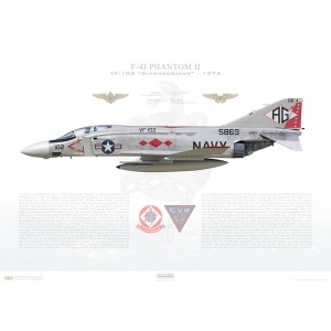 F-4J Phantom II VF-102 Diamondbacks, AG102 / 155869. CVW-7, USS Independence CVA-62, 1972 Squadron Lithograph