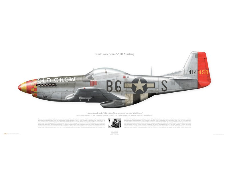 Aircraft Profile Print Of P 51d Mustang Quot Old Crow