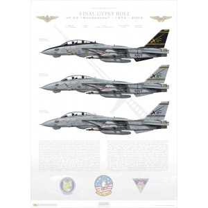 "Final Gypsy Roll, VF-32 Swordsmen, 1974-2005 LIMITED EDITION: Only 25 individually numbered prints are produced! Size: Standard - 24 x 16"" / 594 x 420mm Squadron Lithograph"