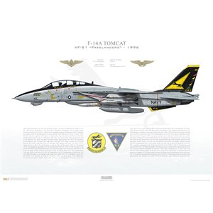 F-14A Tomcat VF-21 Freelancers, NF200 / 161616. CVW-5, USS Independence CV-62, 1996 Squadron Lithograph
