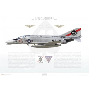 F-4BPhantom II VF-41 Black Aces,AG102 / 150482. CVW-7, USSIndependenceCVA-62, 1965 Squadron Lithograph