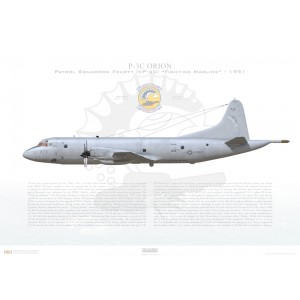 P-3C Orion Patrol Squadron Fourty (VP-40) Fighting Marlins, QE773 / 161773. NAS Moffett Field, CA - 1991 Squadron Lithograph