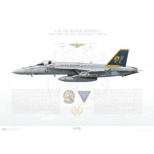 F/A-18E Super Hornet VFA-192 Golden Dragons,NE300 / 165782. CVW-2, NAS Lemoore, CA Squadron Lithograph