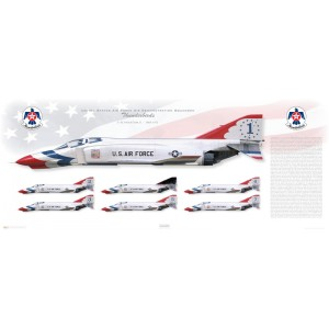 "40x16"" - F-4E Phantom II - United States Air Force Air Demonstratoin Squadron ""Thunderbirds"", 1969-1973 - 57th Wing, Nellis AFB, NV Squadron Lithograph"
