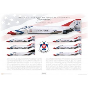 "F-4E Phantom II - United States Air Force Air Demonstratoin Squadron ""Thunderbirds"", 1969-1973 - 57th Wing, Nellis AFB, NV Squadron Lithograph"