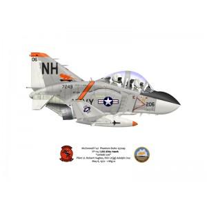 F-4JPhantom II VF-114 Aardvarks,NH206 / 157249. CVW-11, USSKitty Hawk CVA-63, 1972 Squadron Lithograph