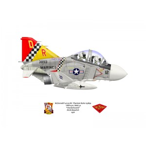 F-4JPhantom II VMFA-312 Checkerboards,DR12 / 153893. 2nd MAW, MAG 11, MCAS Beaufort, SC - 1976 Squadron Lithograph