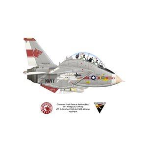 F-14ATomcat VF-1 Wolfpack,NK101 / 158627. CVW-14, USS Enterprise CVAN-65, 1974 Squadron Lithograph