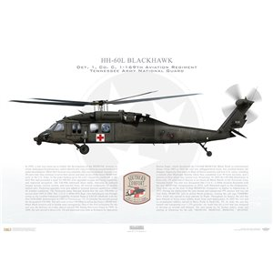 HH-60L Blackhawk, Det. 1, Charlie Company, 1-169th Aviation Regiment - Tennessee Army National Guard Squadron Lithograph