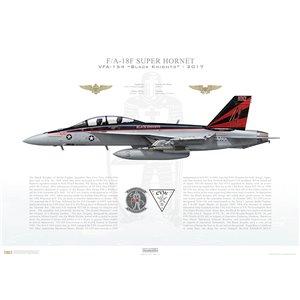 F/A-18F Super Hornet VFA-154 Black Knights,NH100 / 166873. CVW-11, USSNimitz CVN-68, 2017 Squadron Lithograph
