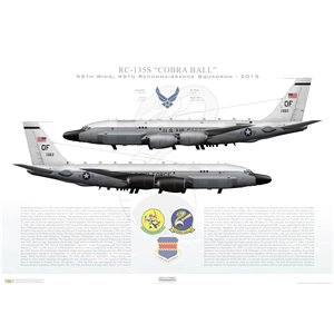 """RC-135SCobra Ball 55thWing, 45th Reconnaissance Squadron, 61-2663 - Offutt AFB, NE - 2015Squadron Lithograph 24x16"""" ONLY!"""