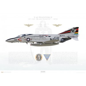 F-4JPhantom II VF-154 Black Knights,NE100 / 158373. CVW-2, USSRanger CV-61, 1972 Squadron Lithograph