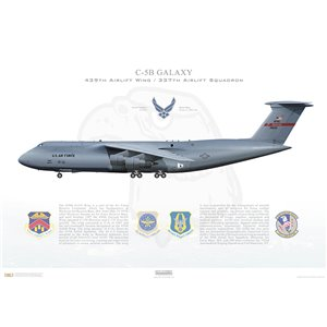 C-5B Galaxy 439th Airlift Wing, 337th Airlift Squadron, 87-0033 - Westover ARB,MA Squadron Lithograph