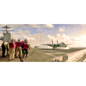 """STRETCHED CANVAS - Alert 5 - F-14D Tomcat of Fighter Squadron Thirty One (VF-31) """"Tomcatters"""" launched from the flight deck Size: 35x15"""""""