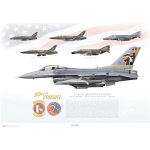 F-16CM Fighting Falcon - Wild Weasel 50th Anniversary, 2015 - 50 Years of YGBSM! SW 92-3920, 20th FW, 55th FS, Shaw AFB, SC - Squadron Lithograph