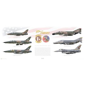 "Wild Weasel 50th Anniversary, 2015 - 50 Years of YGBSM! - Squadron Lithograph Available in 40x16"" Size Only!"