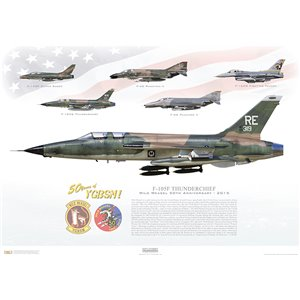 "F-105F Thunderchief ""Sinister Vampire"" - Wild Weasel 50th Anniversary, 2015 - 50 Years of YGBSM! - Squadron Lithograph RE 63-319, 355th TFW, 44th TFS"