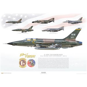 F-105G Thunderchief - Wild Weasel 50th Anniversary, 2015 - 50 Years of YGBSM! - Squadron Lithograph WW 63-8320, 388th TFW, 531th TFS