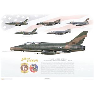 F-100F Super Sabre - Wild Weasel 50th Anniversary, 2015 - 50 Years of YGBSM!- Squadron Lithograph58-1226, 35th TFW, 614th TFS