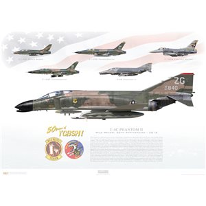 F-4C Phantom II - Wild Weasel 50th Anniversary, 2015 - 50 Years of YGBSM! - Squadron Lithograph ZG 64-840, 18th TFW, 67th TFS