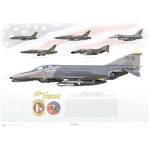 F-4G Phantom II - Wild Weasel 50th Anniversary, 2015 - 50 Years of YGBSM! - Squadron Lithograph WW 69-7216 / 35th TFW, 561th TFS