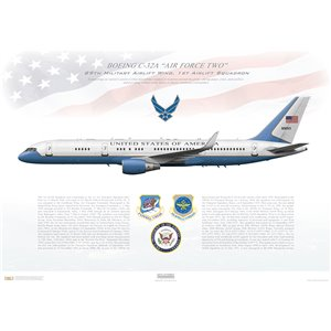 "Premium Size Only: 40x16"" / 1000x400mm Boeing C-32A (Boeing 757-200), 89th Airlift Wing (89th AW), 1st Airlift Squadron (1st AS) 99-0003 ""Air Force Two"" - Andrews AFB, Maryland Squadron Lithograph"