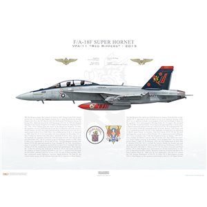 F/A-18F Super Hornet VFA-11 Red Rippers, AB100 / 166628. CVW-1, USS Theodore Roosevelt, CVN-71, 2015 Squadron Lithograph