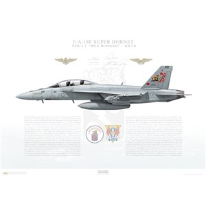 F/A-18F Super Hornet VFA-11 Red Rippers, AB101 / 166634. CVW-1, USS Theodore Roosevelt, CVN-71, Happy Holidays 2015 Squadron Lithograph