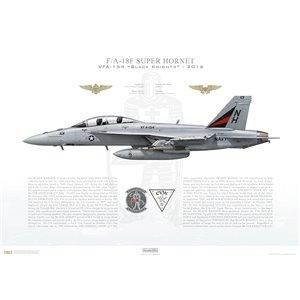 F/A-18F Super Hornet VFA-154 Black Knights,NH101 / 166874. CVW-11, USSNimitz CVN-68, 2016 Squadron Lithograph