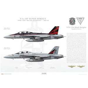 "F/A-18F Super Hornet VFA-154 Black Knights, NH100 / 166873 and NH101 / 166874. CVW-11, USS Nimitz CVN-68 - 2016 - Squadron Lithograph  Size: Standard - 24 x 16"" / 594 x 420mm"