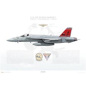 F/A-18E Super Hornet VFA-31 Tomcatters, AJ114 / 169114. CVW-8, USS George H. W. Bush CVN-77, 2015 Squadron Lithograph