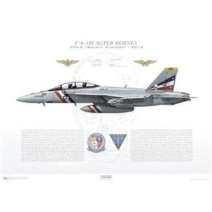 F/A-18F Super Hornet VFA-2 Bounty Hunters, NE100 / 166977. CVW-2, USS Ronald Reagan CVN-76, 2015 Squadron Lithograph
