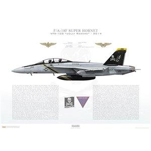 F/A-18F Super Hornet VFA-103 Jolly Rogers,AG200 / 166620. CVW-7, USS Dwight D. Eisenhower CVN-69 - 2014 Squadron Lithograph