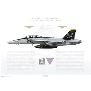 "F/A-18F Super Hornet VFA-103 Jolly Rogers, AG200 / 166620 ""Mutha"". CVW-7, USS Harry S. Truman CVN-75 - 2015 Squadron Lithograph"
