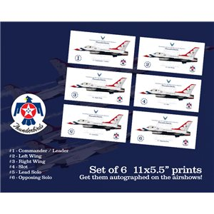 "Set of 6  11x5.5"" USAF ""Thunderbirds"" Squadron Lithographs - Get yours autographed on the airshows!"