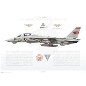 "F-14A Tomcat VF-1 Wolfpack, NE103 ""Wichita 103"" / 162603. CVW-2, USS Ranger CV-2 - Operation Desert Storm, 1991. ""Mi-8 Killer"" - Squadron Lithograph"