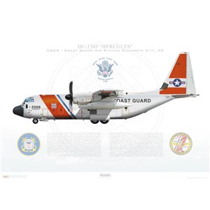 HC-130J Hercules United States Coast Guard 2006, Cost Guard Air Station Elizabeth City, NC - Squadron Lithograph
