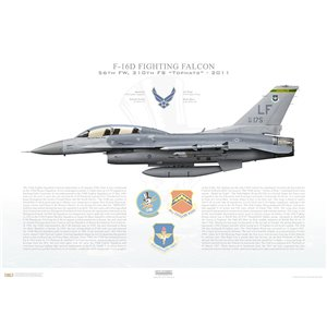 "F-16D Fighting Falcon 19th Air Force, 56th Fighter Wing, 310th Fighter Squadron ""Tophats"", LF/88-0175 - Luke AFB, AZ - 2011 Squadron Lithograph"