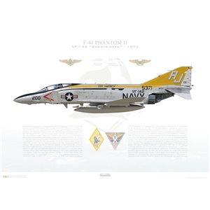 F-4JPhantom II VF-142 Ghostriders,AJ200 / 155371. CVW-8, USSAmerica CV-66, 1972 - Squadron Lithograph