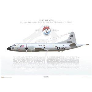 P-3C Orion Patrol SquadronFive Six (VP-56) Dragons,LQ56 / 156518.NAS Jacksonville,FL -1980 Squadron Lithograph