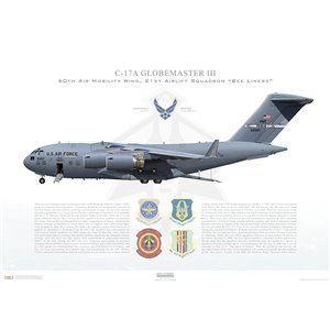 C-17A Globemaster III 60th Air Mobility Wing / 349thAir Mobility Wing, 21st Airlift Squadron, 06-6160 - Travis AFB,CA Squadron Lithograph
