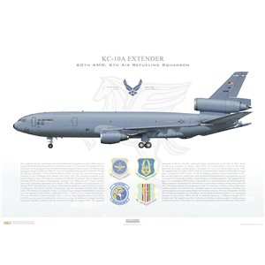 KC-10A Extender 60th Air Mobility Wing, 349th Air Mobility Wing, 6th Air Refueling Squadron, 83-0080 - Travis AFB, CA Squadron Lithograph